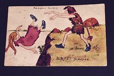 1907 Prehistoric Courtship Divorce Series Comic Postcard One Cent Stamp