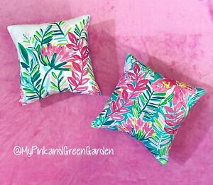 New Set Of 2 throw pillows made with LILLY PULITZER Jungle Lilly Fabric
