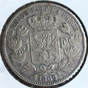 1869 BELGIUM SILVER 5 FRANCS  CROWN COIN