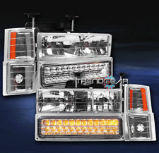 1994-1999 C10 TAHOE SUBURBAN CRYSTAL HEAD LIGHTS+LED BUMPER+CORNER CHROME/AMBER