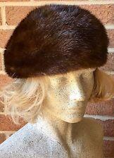 Vintage B.Altman Mink Turban Hat Brown Fur Union Made USA Size 6