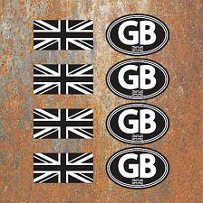 GB Union Jack Laminated Black White Stickers Motorbike Scooter Vespa Flag Decals