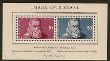 SWITZERLAND :1948 Philatelic Exhibition Basel miniature sheet SG MS498a  mint