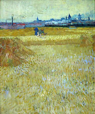 Beautiful art Oil painting Vincent Van Gogh - The Reapers farmers in landscape
