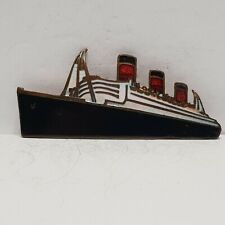 More details for cunard white star line ship shaped enamel badge made by stratton