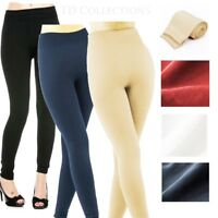 Womens FLEECE LINED Thermal THICK Solid Winter FOOTLESS Leggings Warm