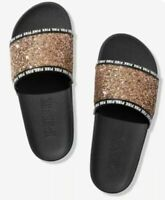 Victoria's Secret Pink logo VS Beach Sandals Slides Slippers L 9 10 glitter gold