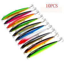 10pcs Minnow Fishing Lures Laser Bait 12.5cm/13.5g 3 Hooks Bass Crankbait Set