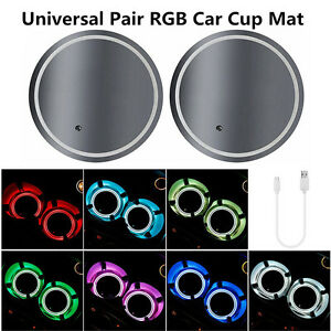 2x 7 Color LED USB Charger ABS Car Cup Holder Bottom Pad Light Cover Waterproof