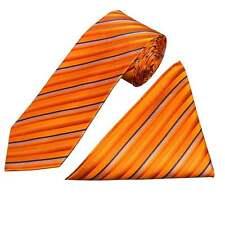 Fatto a mano Arancione a Righe Seta Cravatta E Fazzoletto Set regolari Cravatta e Hanky Set