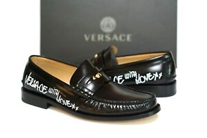 "Versace Men's Black Leather Medusa Medallion ""With Love"" Loafers Size 43 EU/10"