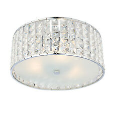 Endon Belfont 3lt flush bathroom ceiling light IP44 18W crystal detail & chrome