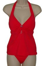 2 Bamboo tankini set swimsuit size M 34D red halter hipster women nwt new