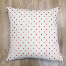 Handmade Red Stars Natural Linen Cotton Cushion Cover. Various sizes