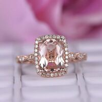 6*8 mm Cushion Cut Morganite Engagement Ring Halo Wedding 14k Rose Gold Finish