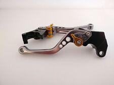 Suzuki GSXR 1000 K1 K2 K3 K4 Gun Metal Adjustable Levers Gold Adjusters (Shorty)