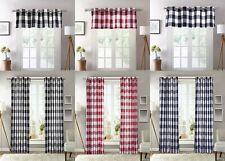 1 Piece Plaid Courtyard Buffalo Checker Grommet Top Window Curtain Valance