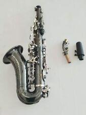 Excellent Bb key Curved soprano Saxophone Black nickel body Good sound
