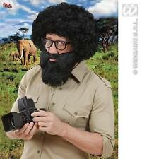 Large Black Beard & Moustache Safari Explorer Pirate Fancy Dress