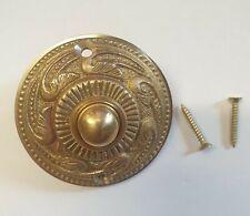 Solid Brass Antique Victorian Rococo Style Retro Round Bell Push Door Button