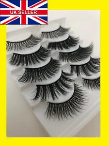 ❤️5 Pair 3D Mink False Eyelashes Wispy Cross Long Thick Soft Fake Eye Lashes 🔥