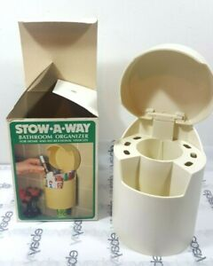 Vintage STOW-A-WAY Bathroom Organizer Toothbrush Toothpaste Cups Retro