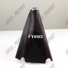 TRD Carbon Fiber Look PVC Red Stitches Shift Knob Shifter Boot Cover MT/AT JDM