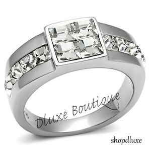 MEN'S 1.90 CT PRINCESS CUT CUBIC ZIRCONIA SILVER STAINLESS STEEL RING SIZE 8-13