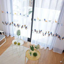 A panel Embroidered line birds white Sheer Voile Window Curtain Custom eyelet