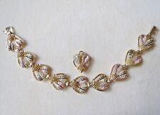 10k - 12k Black Hills Gold Matching Bracelet & Pendant Grape Leaves 15.46 Grams