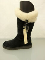 UGG Australia Designer Lammfell Stiefel Boots Gr.39 UK6,5 Leder Schuhe Schwarz