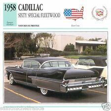 CADILLAC SIXTY SPECIAL FLEETWOOD 1958 CAR VOITURE UNITED STATES CARTE CARD FICHE