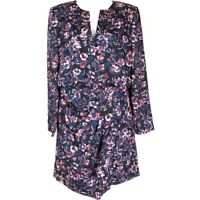 Judith & Charles Womens A Line Mini Dress Blue Black Pink Floral Lined 10 New
