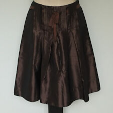 'BASQUE' EC SIZE '8' BROWN LINED PLEATED SKIRT WITH RIBBON TIE
