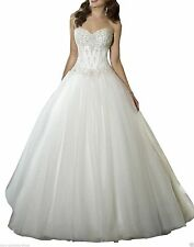 2017 New Sweetheart Beaded Corset Tulle Wedding Dress Bridal Gown size 4-18++