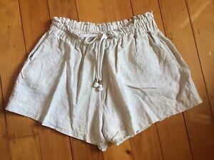 Oh Polly Brand Linen Look Beige Paperbag Waist Shorts (16) Like Serafina