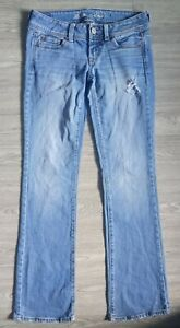 American Eagle Outfitters Womens Stretch Slim Boot Blue Denim Jeans Size 4 Long