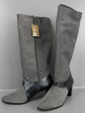 Langschaftstiefel Gr 41 Grau Leder-Stiefel mit Zierschnalle Hydrovelour F1-HY