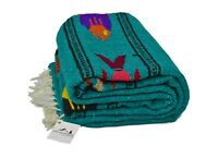 Mexican Yoga Blanket Fish Design Turquoise Serape Ocean Tapestry Teal Green Boho