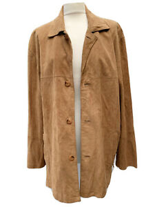 DAVID MOORE Y2K Men M/L 48in Buttersoft Lamb Suede Leather Jacket Shirt Unlined