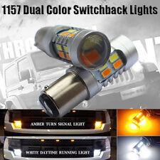 2x 1157 Dual Color Switchback 5630 6000K White/Amber LED Turn Signal Light Bulbs