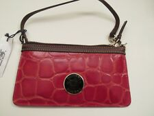 Dooney & Bourke Croc Embossed Leather Wristlet Red Delicious 88