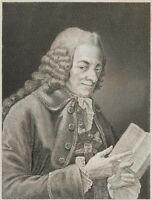 Bildnis des frz Philosophen und Schriftstellers Voltaire, 1860 Stahlstich