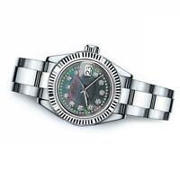 Ladies Rolex 26mm Datejust Black MOP Mother of Pearl String Diamond Accent Dial