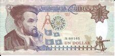CANADA BILLETE 1 DOLLAR QUEBEC 2016 FANTASIA