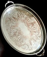 "Large Vintage Ornate Intricate 21""/54cm ""Cavalier"" Silver Plated Galleried Tray"
