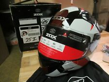 ZOX MOTORCYCLE  ATV SNOWMOBILE SCOOTER HELMET - FULLFACE GALAXY LARGE  RED + WHT