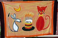 Tenture murale en batik - Textile déco ou Paréo de Plage - Le Chat et la Souris