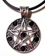 SILVER PENTAGRAM CHOKER w/ BLACK STONES gothic wiccan witch pendant necklace O2
