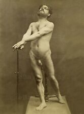 LP Large 13x18 cm Antique photo male gay Nude Model with a cane 1860s 5612